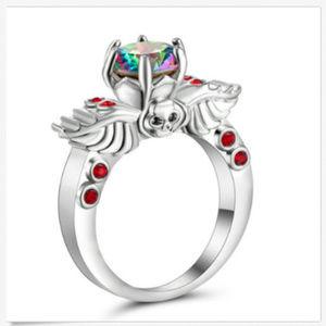 Jewelry - Mystic Topaz Rainbow 10kt AB Ring Size 8 Skull GF